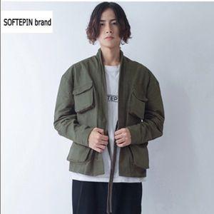 Softepin Brand Khaki Green Jacket Open Tie XL